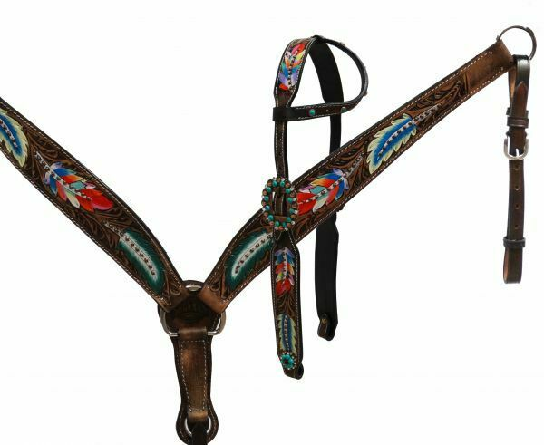 Painted Feather Single Ear Headsttutti & Breast Collar Set with Reins nuovo