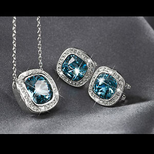 18k-white-gold-gf-made-with-SWAROVSKI-crystal-blue-stud-earrings-necklace-set