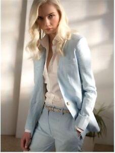 Topshop-Blue-Tailored-Smart-Suit-Jacket-Cigarette-Slim-Work-Blazer-16-44-New