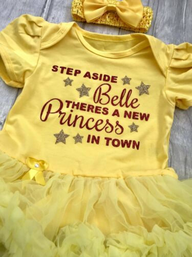 DISNEY PRINCESS TUTU ROMPER Glitter Step aside Cinderella or Belle Quote Newborn