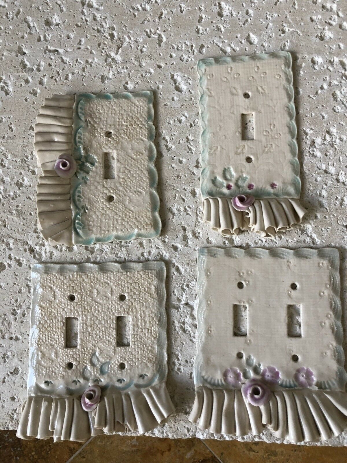 4 Decorative Switch Plates By Jean Magdich Pottery