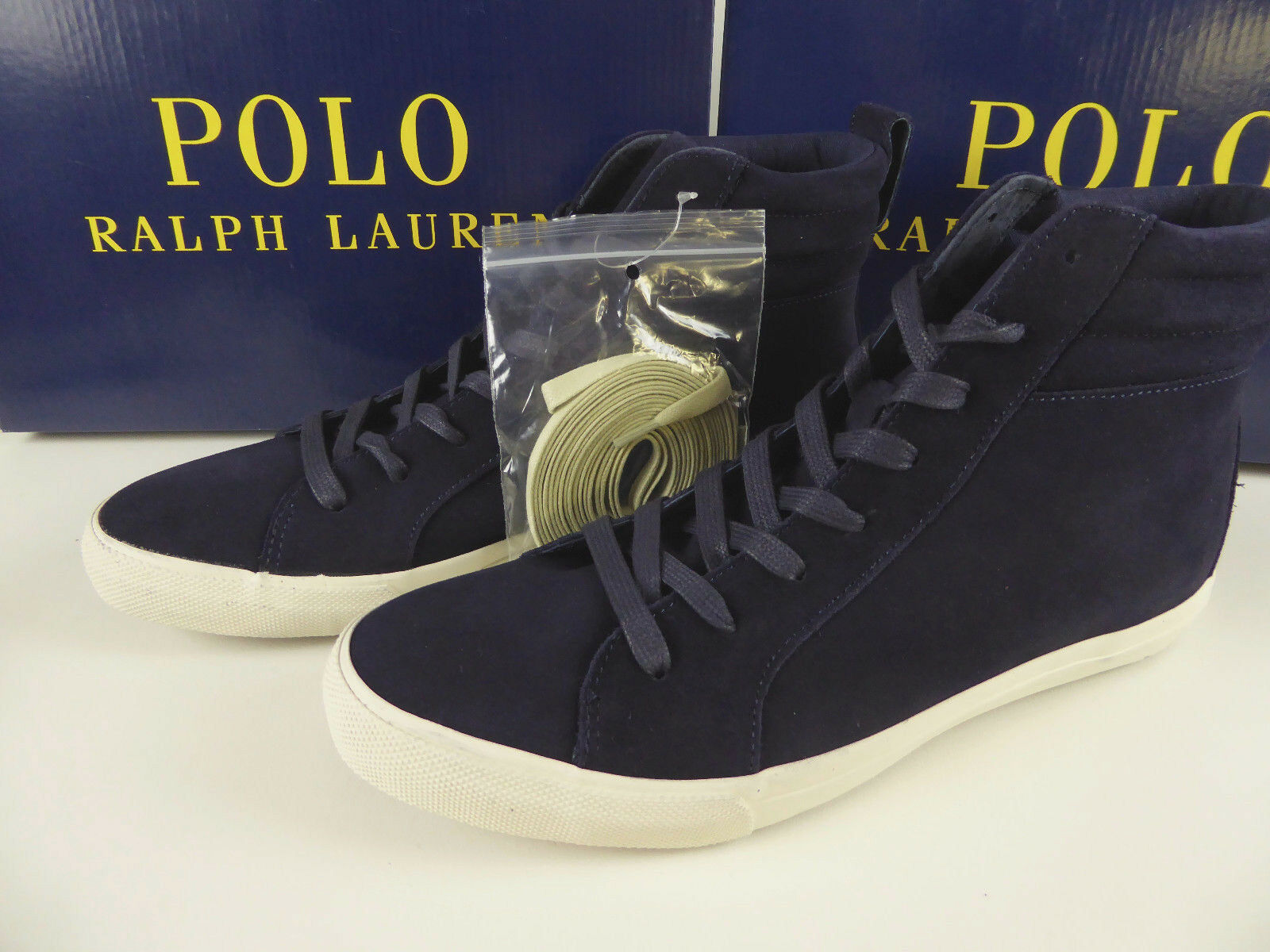 Polo Ralph Lauren Gaven Suede Leather Leather Leather Turnschuhe schuhe NIB  125 Hi-Tops Polo Badge 71436b