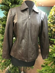 Women-s-Preston-amp-York-M-Brown-Lamb-Skin-Jacket-GUC