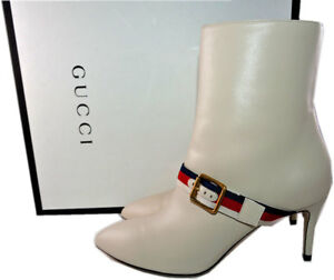 14f6a7f59 $1,290 Gucci Web Trimmed Buckle Ankle Boots Shoes Booties Pump 35.5 ...