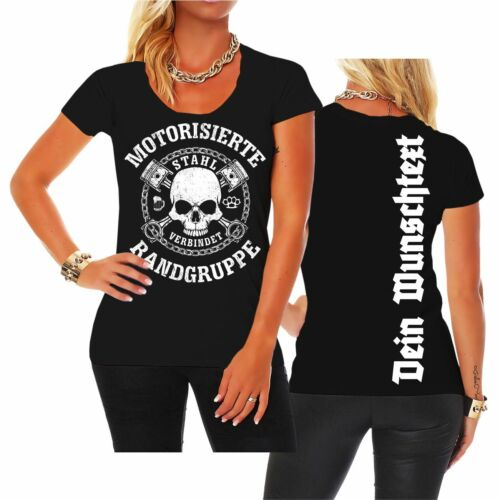 Frauen personalisiertes T-Shirt WUNSCHTEXT WUNSCHNAME Motorisierte Randgruppe
