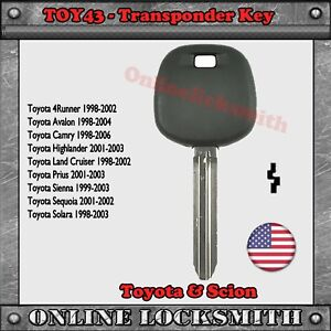 Image Is Loading New Replacement Toyota Transponder Ignition Chip Car Key
