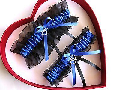 "NEW  /""Something Blue"" Wedding Garter Royal Blue White Prom GetTheGoodStuff"