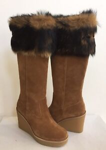 3b4e5d6639a Details about UGG VALBERG TALL CHESTNUT TOSCANA FUR CUFF SUEDE WEDGE US 7.5  / EU 38.5 / UK 6