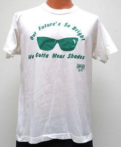 vtg-SUNGLASSES-PARTY-80s-t-shirt-MED-1989-Shades-Bright-Future-funny-50-50-soft