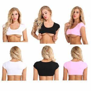 Femme-Crop-Top-Mini-T-Shirt-Sexy-Cropped-Haut-a-Manches-Courtes-Soutien-Gorge