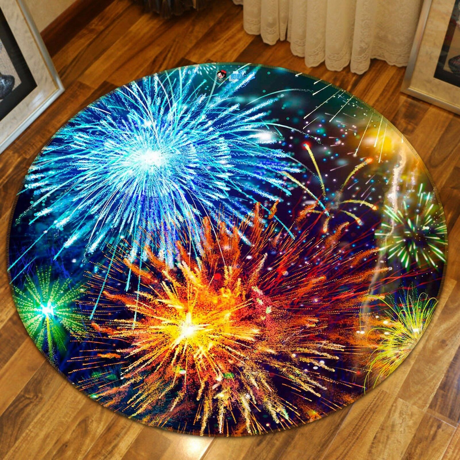 3D Fireworks 412 Non Slip Rug Mat Room Mat Round Quality Elegant Photo Carpet CA