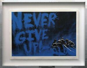 Spendenauktion Fluthilfe Ahrtal Pop Art Bild Mr. Brainwash NEVER GIVE UP!