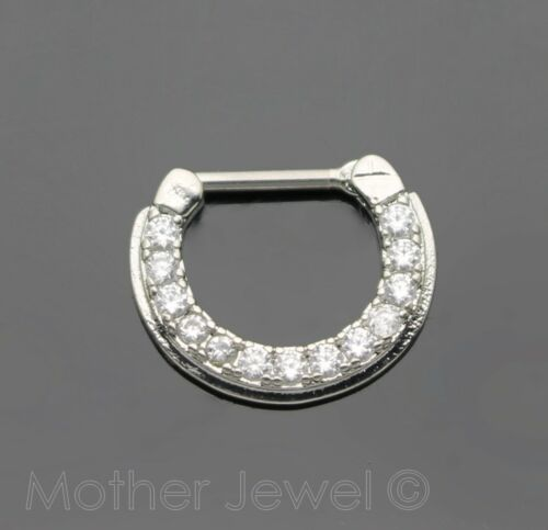 SIMULATED DIAMOND CLICKER SEPTUM HORSESHOE CIRCULAR CURVED RING EARRING