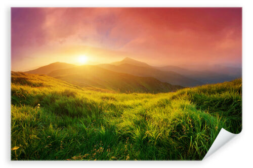 Postereck 3137 Morgendämmerung Wiese Natur Landschaft Sonne Poster /& Leinwand