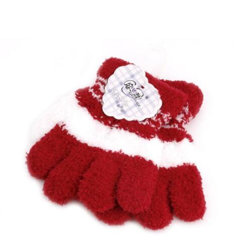 Cute Baby Kids Full Finger Warm Winter Gloves Toddler Knit Rainbow Mittens gift