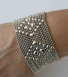 Image Is Loading Sg Liquid Metal Silver Mesh Cuff Bracelet By