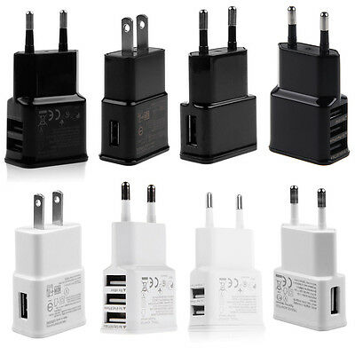 US/EU Plug 2A/1A USB Travel Wall Home Charger Adapter for for Samsung iPhone HTC