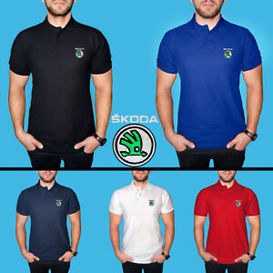 Skoda-Polo-T-Shirt-COTTON-EMBROIDERED-Auto-Car-Logo-Mens-Casual-Tee-Short-Sleeve