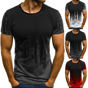 Men-039-s-Slim-Fit-O-Neck-Short-Sleeve-Muscle-Tee-T-shirt-Casual-Tops-Jersey-Blouse