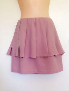 NWT-Pinclove-High-Waisted-Peplum-Mini-Skirt-Dusty-Pink-Size-Small-G11