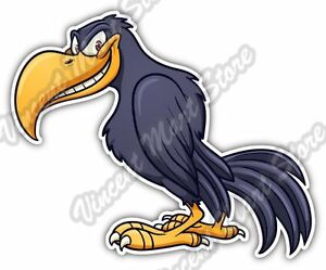 crow raven bird cartoon funny smile car bumper window vinyl sticker rh ebay com Black Bird Cartoon Raven Bird Drawings