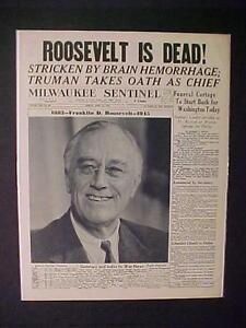 Newspaper-Headline-World-War-2-Truman-President-Roosevelt-FDR-DEAD-WWII-1945