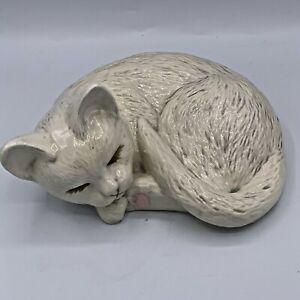 Vtg Glazed Ceramic Sleeping White Cat Kitten  1987 Scioto Mold Curled Up