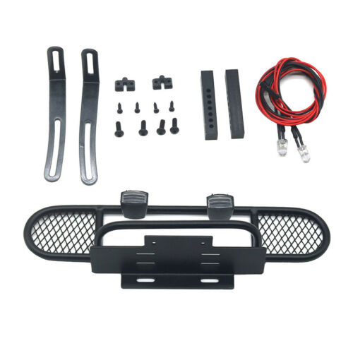 RC Rock Crawler Front Bumper with LED Lights for TRX4 D90 D11 Accessories