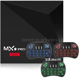 Lot 8G MX9 Pro Quad Core 4K Android 7.1 Nougat Wifi Smart TV BOX & Keyboard S8F6