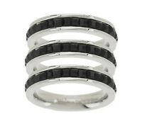 Size 11 Qvc Set Of 3 Princess Cut Stack Ring Stainless Steel By Design J281424
