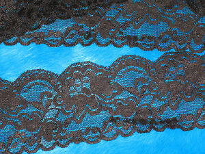 "6 yards 3"" width black scroll stretch lace trim for your fashion design"