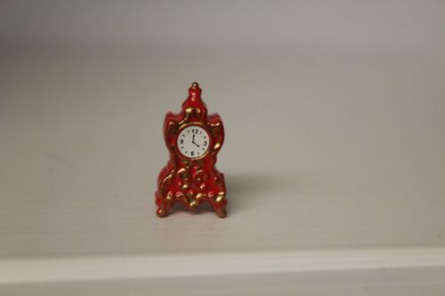 Dolls House Metal Red  Mantel Clock