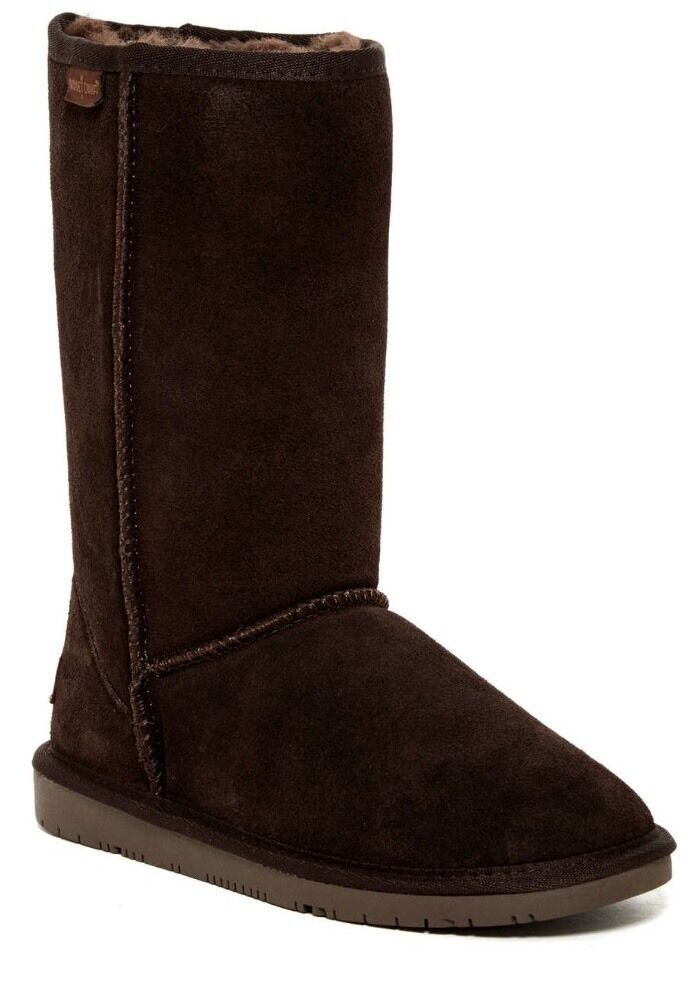 Minnetonka Calgary Genuine Sheepskin Fur Chocolate Brown Suede Boot Size 8 M