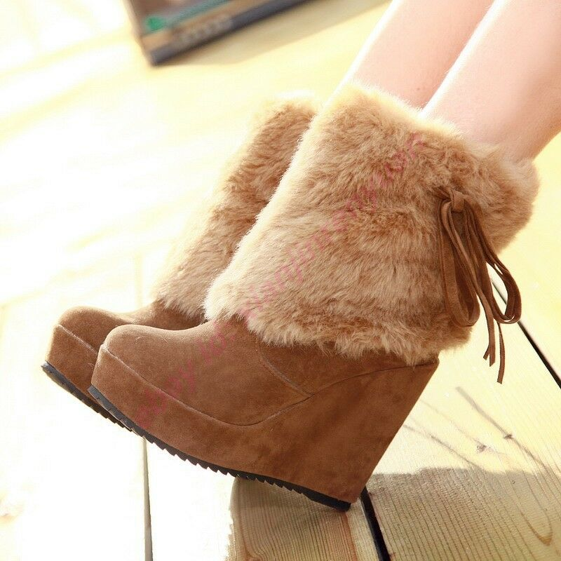 Fashion Womens Goth Furry Wedge Heels Platform Ankle Boots Winter Warm Shoes New
