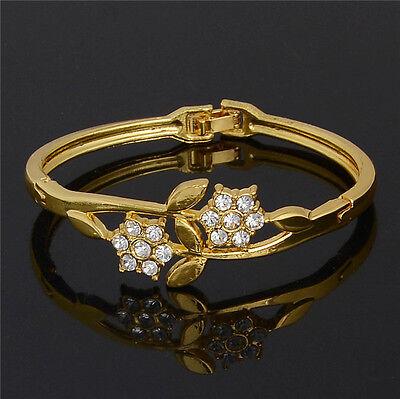New Hot Sale Austrian Crystal 18K Yellow gold filled Lady's Bangle Bracelet