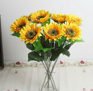 10pcs artifical sunflower fake silk flower floral single stem image is loading 10pcs artifical sunflower fake silk flower floral single mightylinksfo