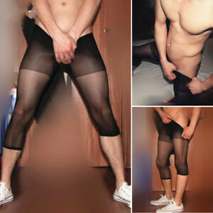 Sexy-Mens-Sheer-Mesh-Leggings-Yoga-Tight-Long-Johns-Pants-Bottoms-Underwear