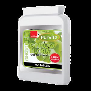 Ginkgo-Biloba-6000mg-Gesundheit-Nahrungsergaenzung-150-Tabletten-Flasche-purvitz-Made-UK