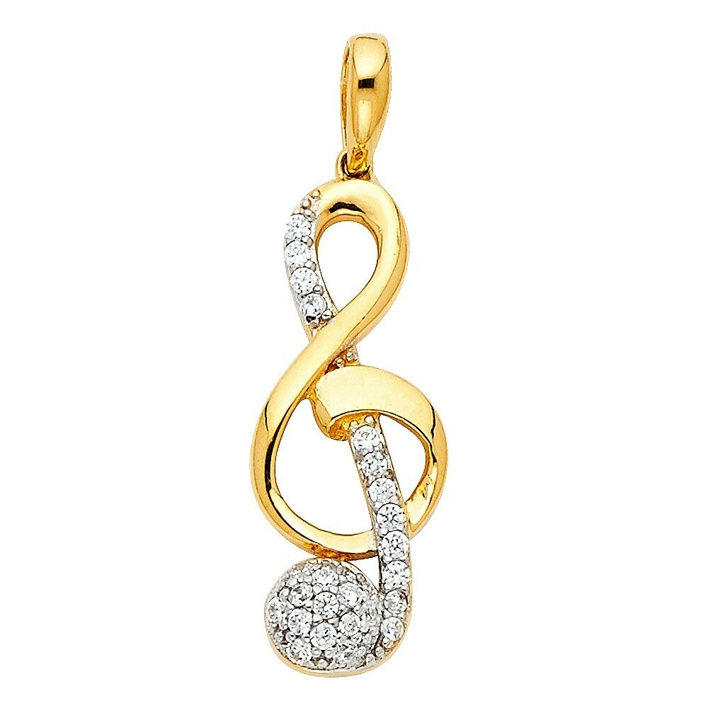 Musical Note Pendant 14k Yellow gold Treble Clef Charm CZ Curve S  9 x 21 mm