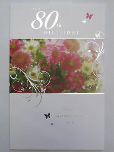 BEAUTIFUL COLOURFUL FLOWERS ON YOUR 80TH BIRTHDAY GREETING CARD