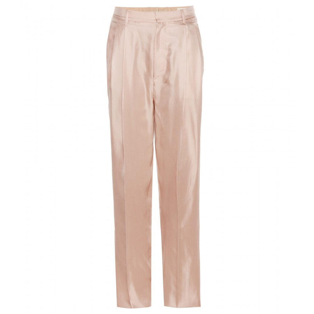 NEW RAG & BONE Silk Tan Pants 2  395 XS Small Pink pink-gold Sally Pleated 100%