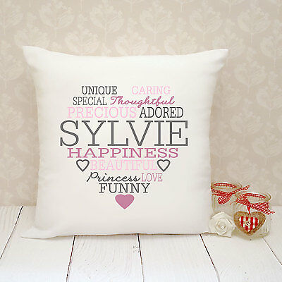 Personalised Cushion Cover - Present Gift - Name Heart
