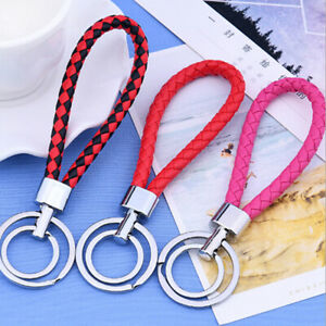 Two-circle-multi-color-leather-rope-strap-weave-key-ring-key-chain-keyFob-WG