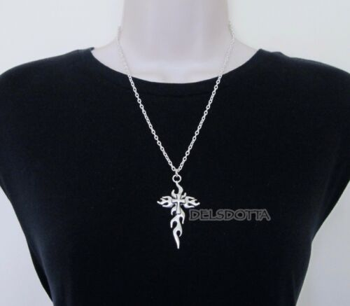 """FANCY DRESS FLAME CROSS NECKLACE 24/"""" CHAIN GOTHIC VAMPIRE HALLOWEEN ACCESSORIES"""