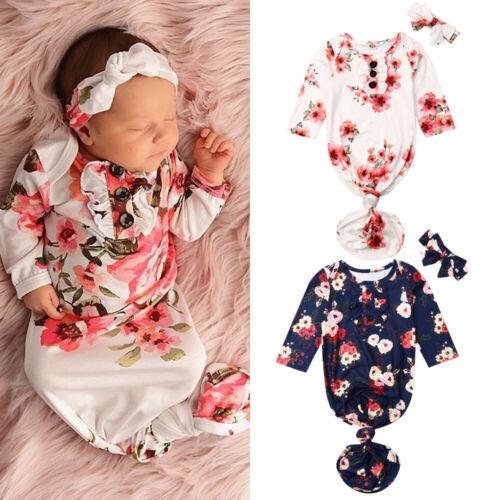 Baby Girl Flower Swaddle Wrap Blanket Long Sleeve Sleeping Bag+Headband Set US