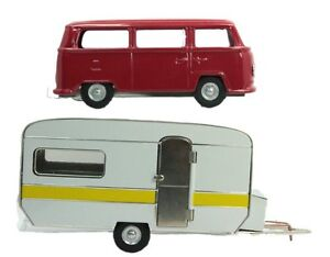 Trailer-amp-VW-Bus-Set-Bundle-O-Scale-Metal-Kovap-Railroad-Vehicles