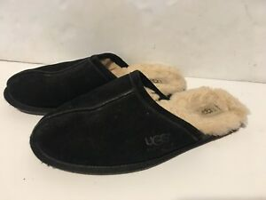 Details About Ugg Australia 5776 Men S Black Suede Scuff Slipper Size 10 Shearling