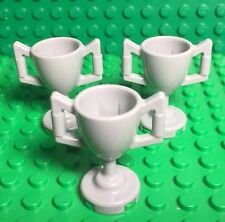Lego X3 New Light Stone Gray Trophy Cup / Mini Figures Utensil Accessory Lot
