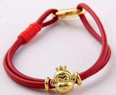 Shambhala charm bracelet leather lobster clasp Tibetan Gold Fukubukuro