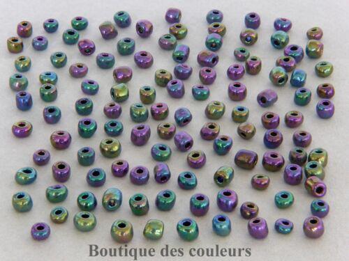 LOT DE 450 32,30g PERLES DE ROCAILLES VERRE VIOLET 4mm 6//0 CREATIONS BIJOUX